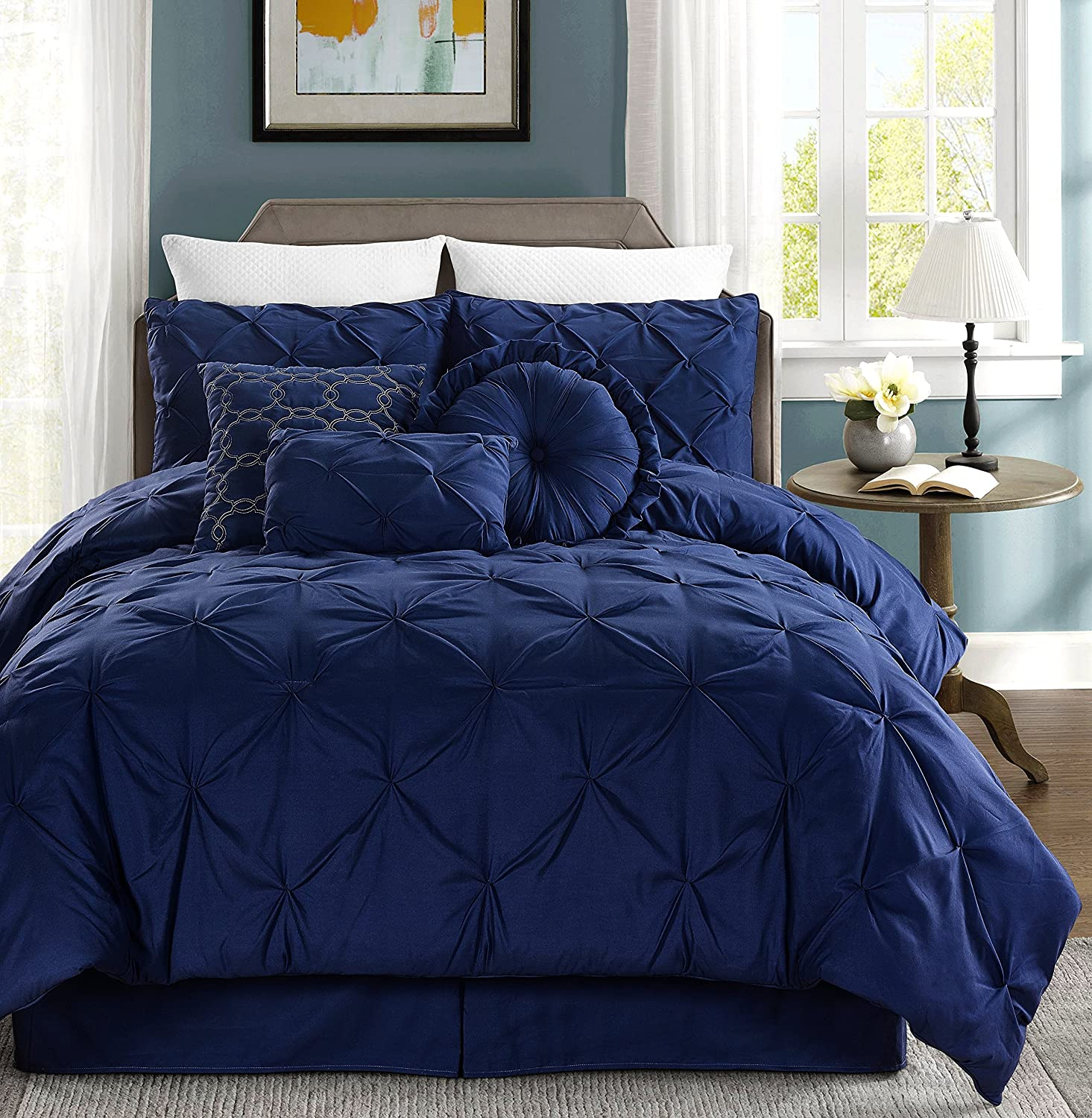 Chezmoi Collection Sydney 7-piece Pintuck Bedding Comforter Set Full, Navyvy