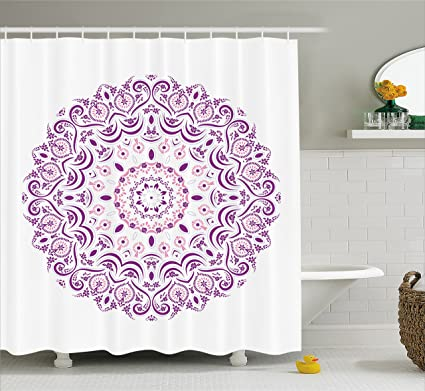 Ambesonne Mandala Decor Shower Curtain By Moroccan Style Circle Icon With Outer Inner Curving Leaves