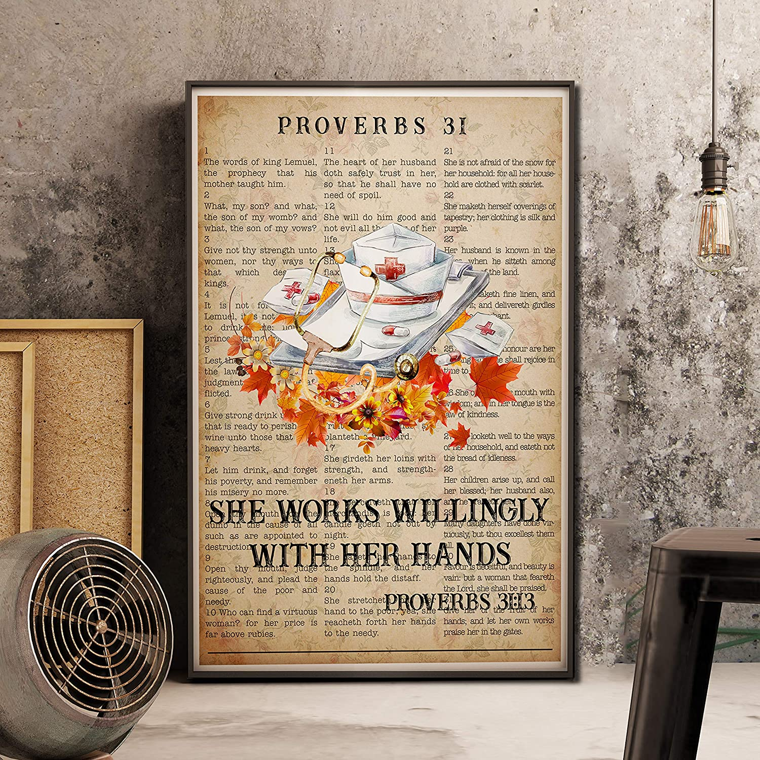 Minitowz She Works Willingly with her Hands Poster, Nurse Halloween Prints Poster, Nursing Art, Nurse Wall Art, Nurse Gift, Nurse Office Decor, Nurse Appreciation Gift