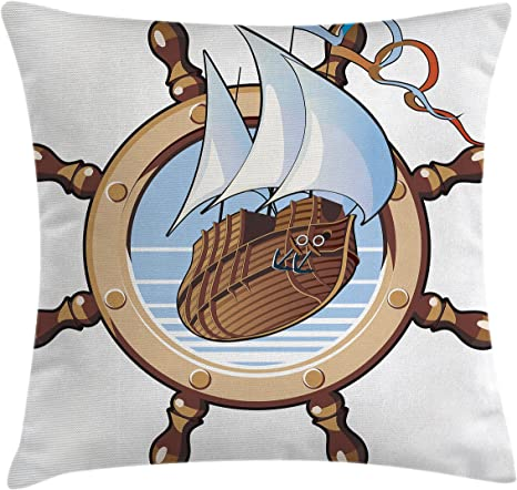 Amazon Com Ambesonne Ships Wheel Throw Pillow Cushion Cover Image Of Ship Is In Framing Of Steering Wheel Adventure Nautical Theme Artwork Decorative Square Accent Pillow Case 28 X 28 Brown Blue Home