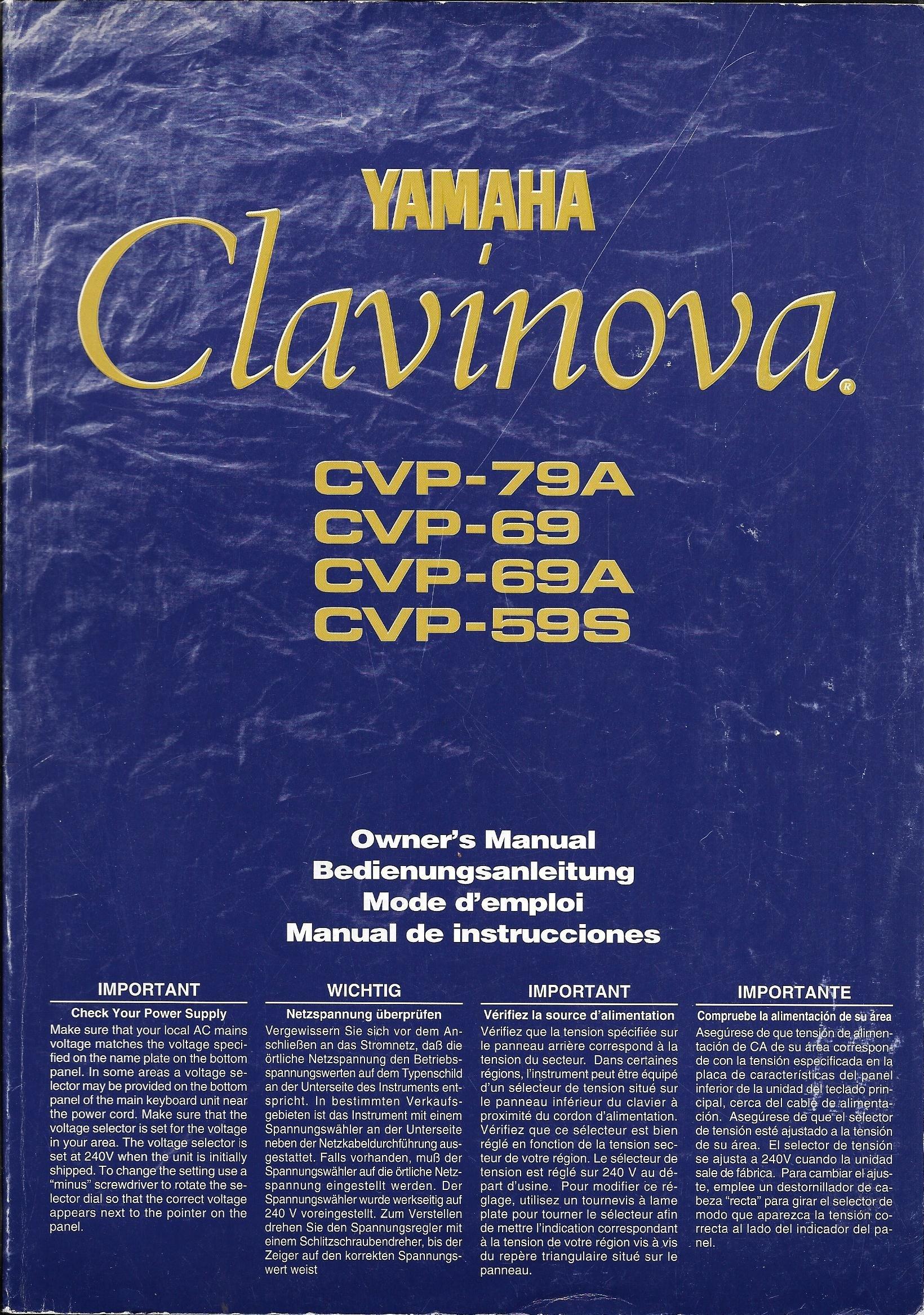 yamaha clavinova owner s manual cvp 79a cvp 69 cvp 69a cvp 59s rh amazon com yamaha clavinova service manual pdf yamaha clavinova user manual