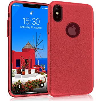 MyGadget Funda Dura 3 Capas [Glitter Case Brillante] para Apple iPhone X XS - Suave Carcasa Externa en Silicona TPU y Hard Case PC Interna Protectora ...