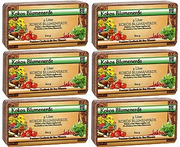 Tierra de coco para plantas, plantas de interior, paquete de 6 unidades (6