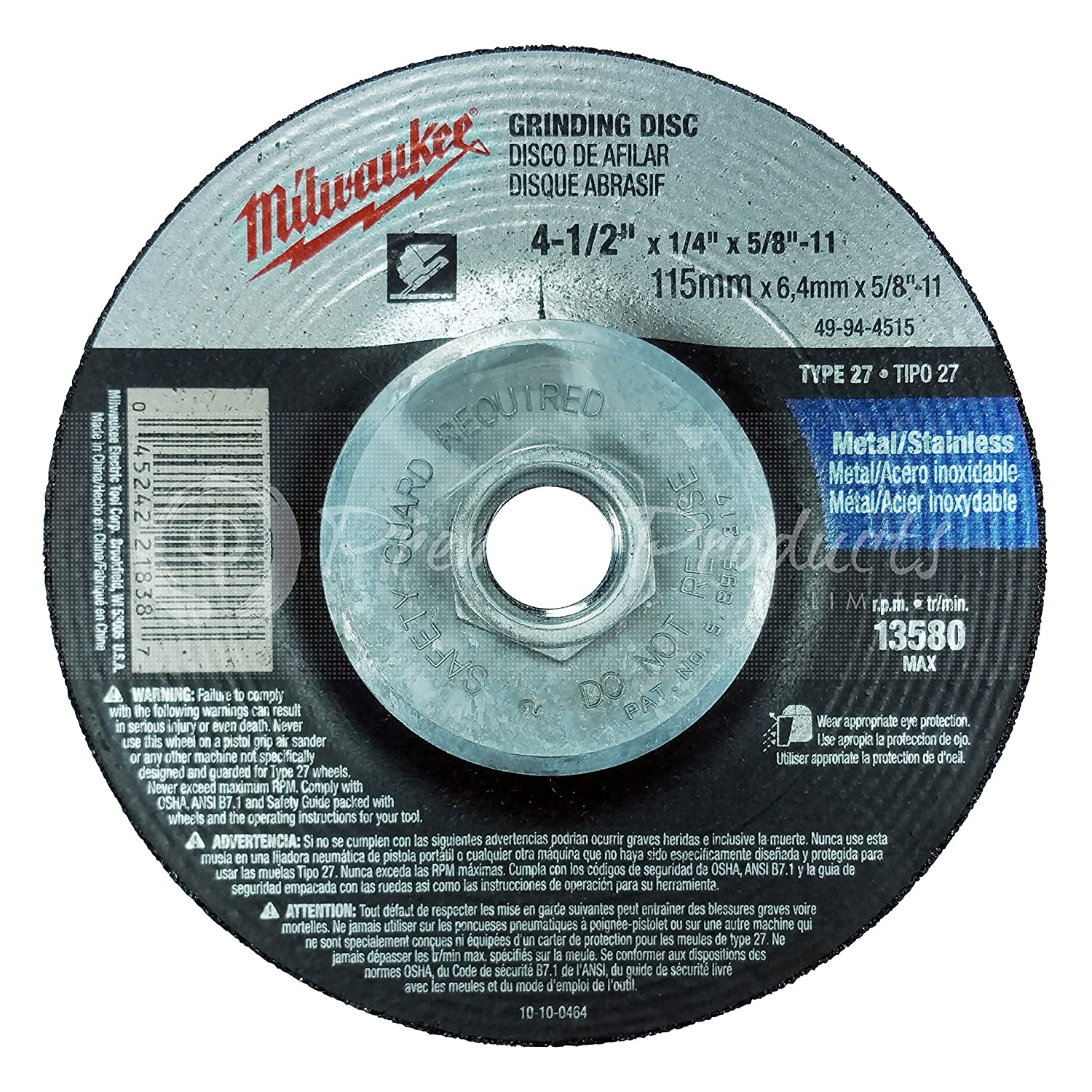 51c389c9 Milwaukee 5 Pack - 4 1 2 Hubbed Grinding Wheel For Grinders - Aggressive  Grinding For Metal & Stainless Steel - 4-1/2