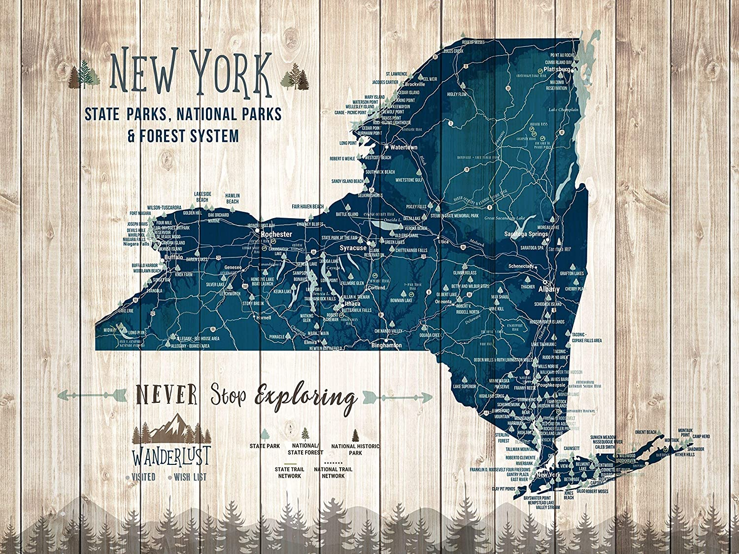 Amazon.com: New York State Map, State Parks of New York ...