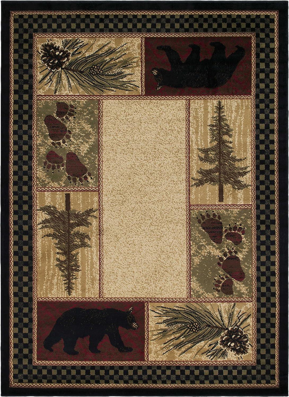 Rustic Lodge Black Bear 2x3 Area Rug, 2'2x3'3