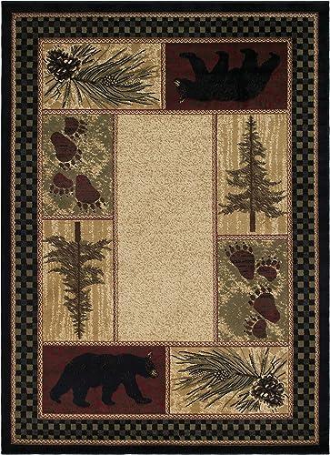 Rustic Lodge Black Bear 5×7 Area Rug