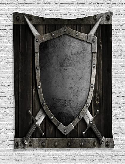 Ambesonne Medieval Decor Collection, Medieval Shield And Crossed Swords On  Wood Gate Safety Security Military