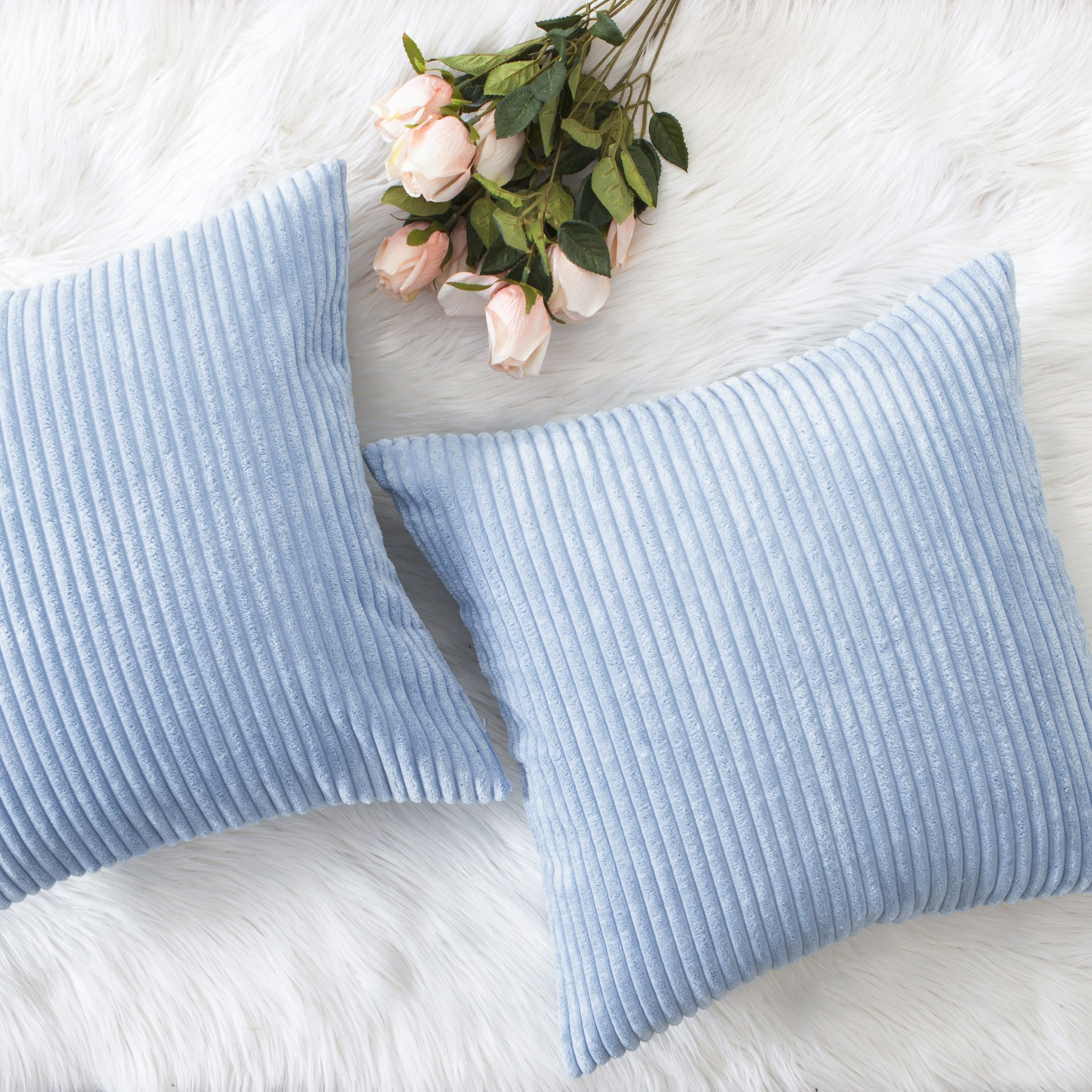 HOME BRILLIANT Decor Throw Pillow Cover Set Solid Supersoft Corduroy Handmade Decorative Velvet Cushion Cover with Zipper for Bed, 2 Pieces, Light Blue, 18''x18'' (45cm)