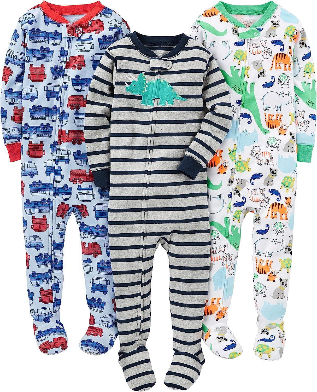 Simple Joys by Carters 3-Pack Snug Fit Footed Cotton Pajamas Beb/é-Ni/ños Pack de 3