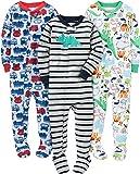 Simple Joys by Carter's 3-Pack Snug Fit Footed Cotton Pajamas Bebé-Niños, Pack de 3