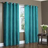 """Home Candy Eyelet Fancy Polyester 2 Piece Door Curtain Set - 84""""x48"""", Blue"""