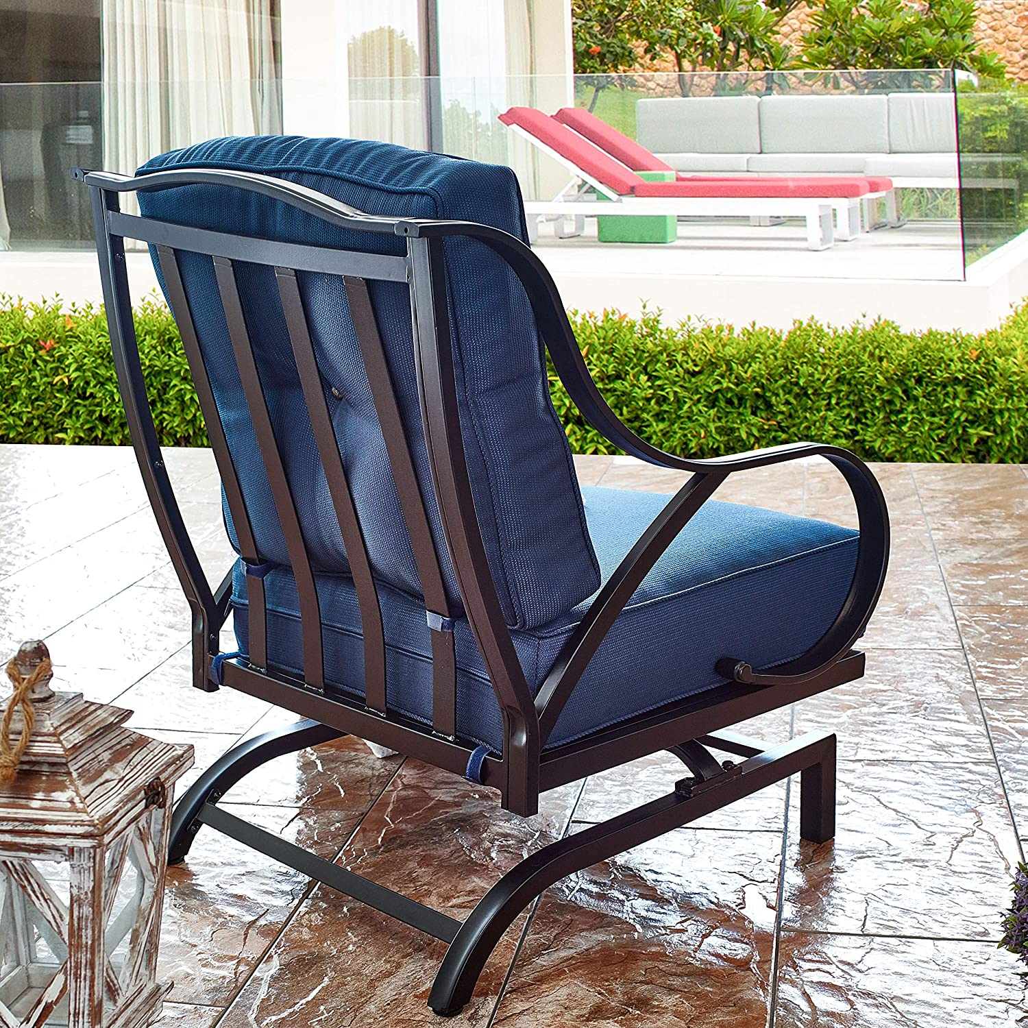 Top Space Rocking Motion Patio Chair Outdoor Deep Seating Club Chair Metal Furniture Set with Soft Cushion Sturdy Metal Frame Furniture for Garden Yard Lawn Poolside 1PCS, Blue