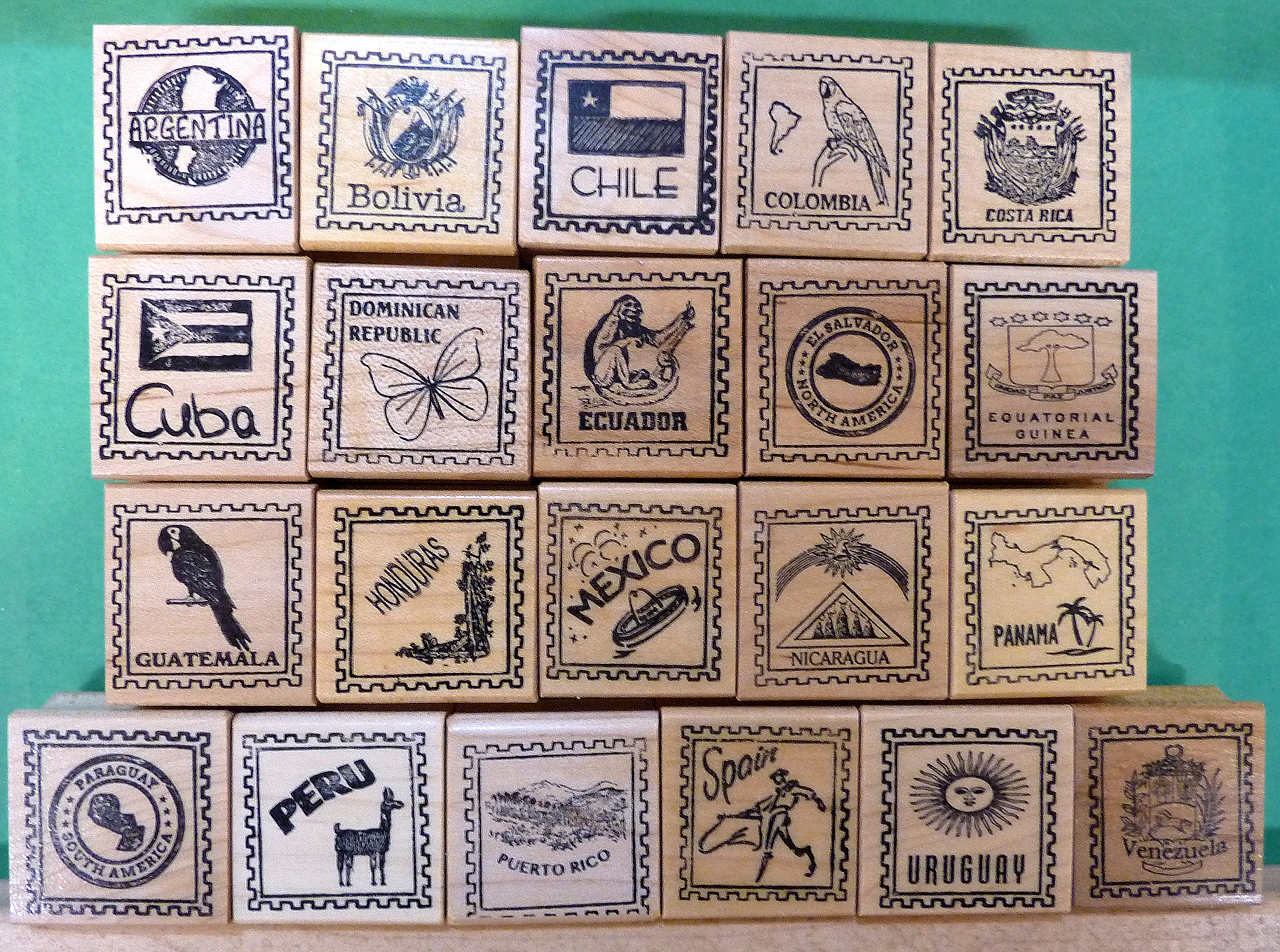 Country/Passport Rubber Stamp Assortment for 21 Spanish Speaking Countries by StampCrafter