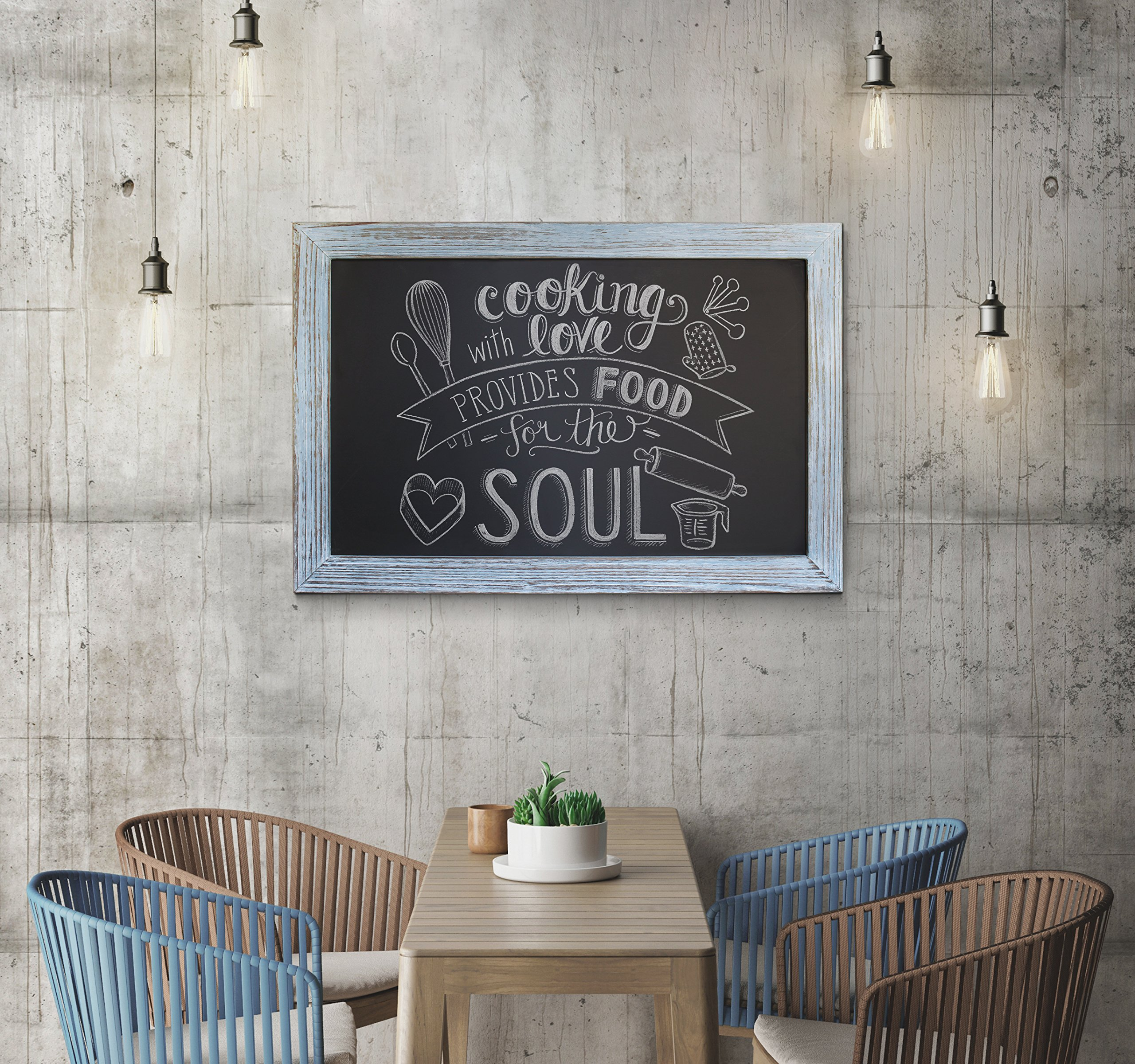 Rustic Blue Magnetic Wall Chalkboard, Extra Large Size 20'' x 30'', Framed Decorative Chalkboard - Great for Kitchen Decor, Weddings, Restaurant Menus and More! … (20''x30'') by HBCY Creations (Image #7)