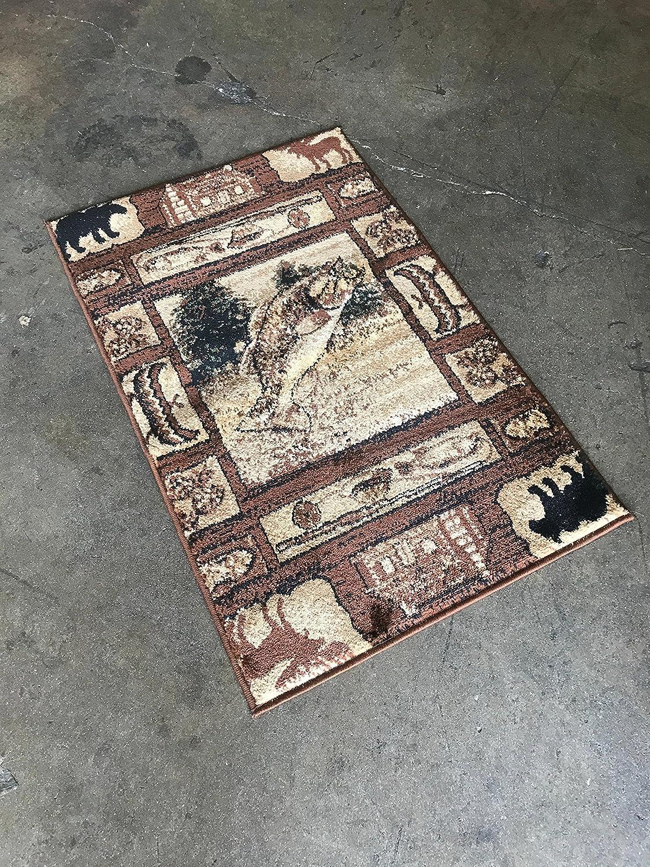 Carpet King Cabin Style Runner Area Rug Rustic Native American Western Country Bear Elk Deer Wildlife Lodge Native Design 386 Persian Weavers #362 2 Feet 2 Inch X 7 Feet 2 Inch