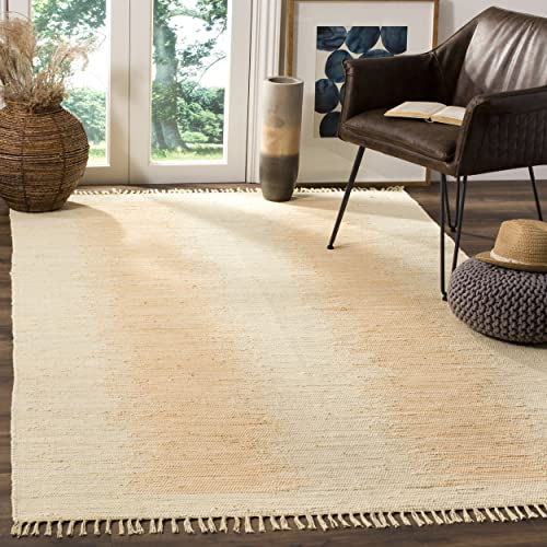 Safavieh Montauk Collection MTK718G Handmade Flatweave Ivory Cotton Area Rug 8 x 10