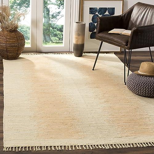Safavieh Montauk Collection MTK718G Handmade Flatweave Ivory Cotton Area Rug 4 x 6