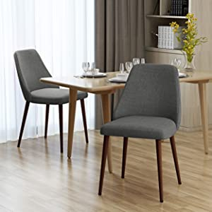Mable Mid Century Light Grey Fabric Dining Chairs with Dark Walnut Wood Finished Legs (Set of 2)
