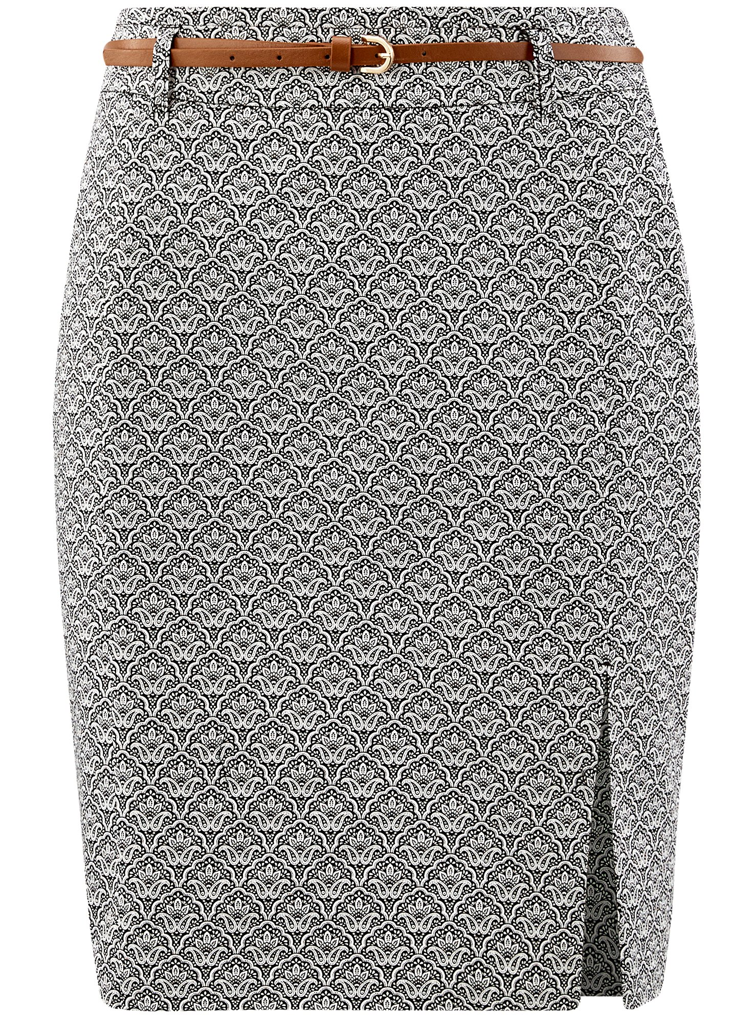 oodji Collection Women's Straight Belted Skirt, Grey, 8 by oodji (Image #7)