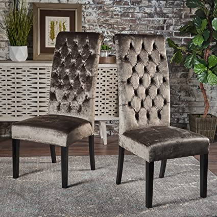Leona Tall Back Tufted New Velvet Dining Chair (Set Of 2) (Grey)