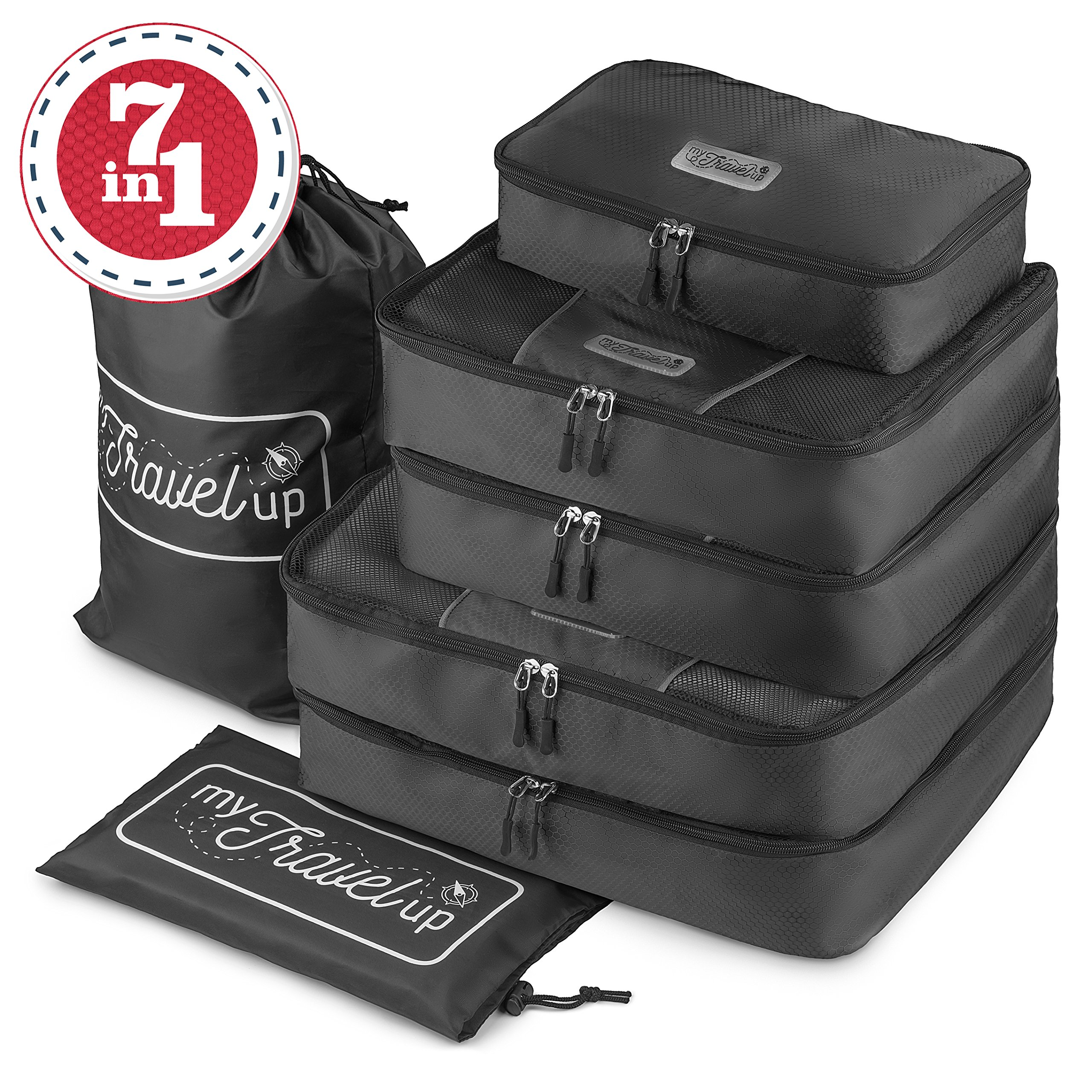 MyTravelUp, 7in1 - TRAVEL PACKING CUBES for everyone who loves travelling, HIGH QUALITY durable material, 2 BAGS for LAUNDRY/SHOES. This travel set will be a SMART ORGANIZER for clothes (Black)