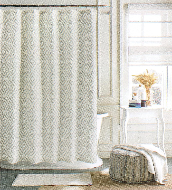 Amazoncom Tommy Hilfiger Geometric Diamond Lake Cotton Bland - Beige and gray shower curtain