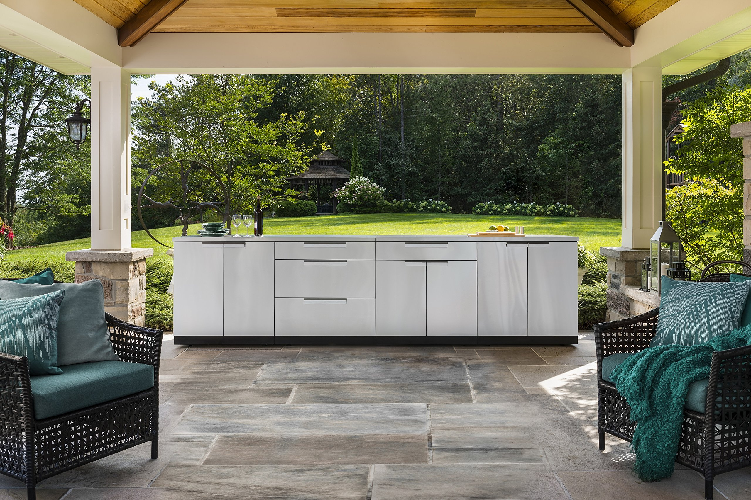 Newage Products Stainless Steel 3 Piece 92 In W X 36 5 In H X 24 In D Outdoor Kitchen Cabinet Set Without Countertop