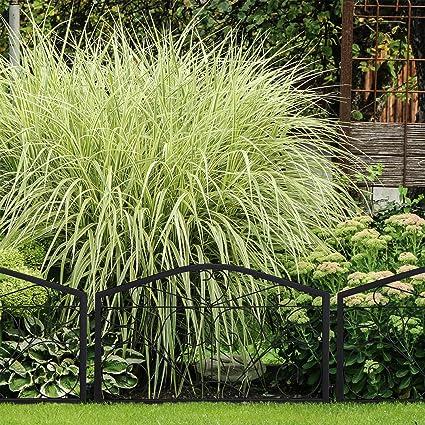 cl/ôture Jardin 5 /él/éments Design Papillon Noir H x L : 46 x 250 cm Relaxdays Bordure Potager m/étal