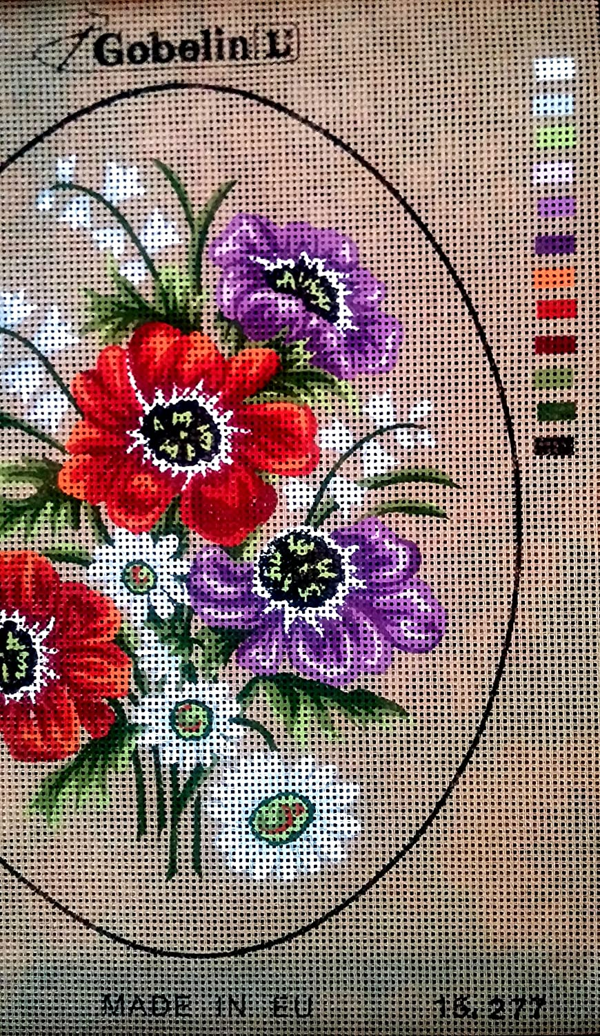 OVAL ASSORTED FLOWERS NEEDLEPOINT CANVAS ONLY