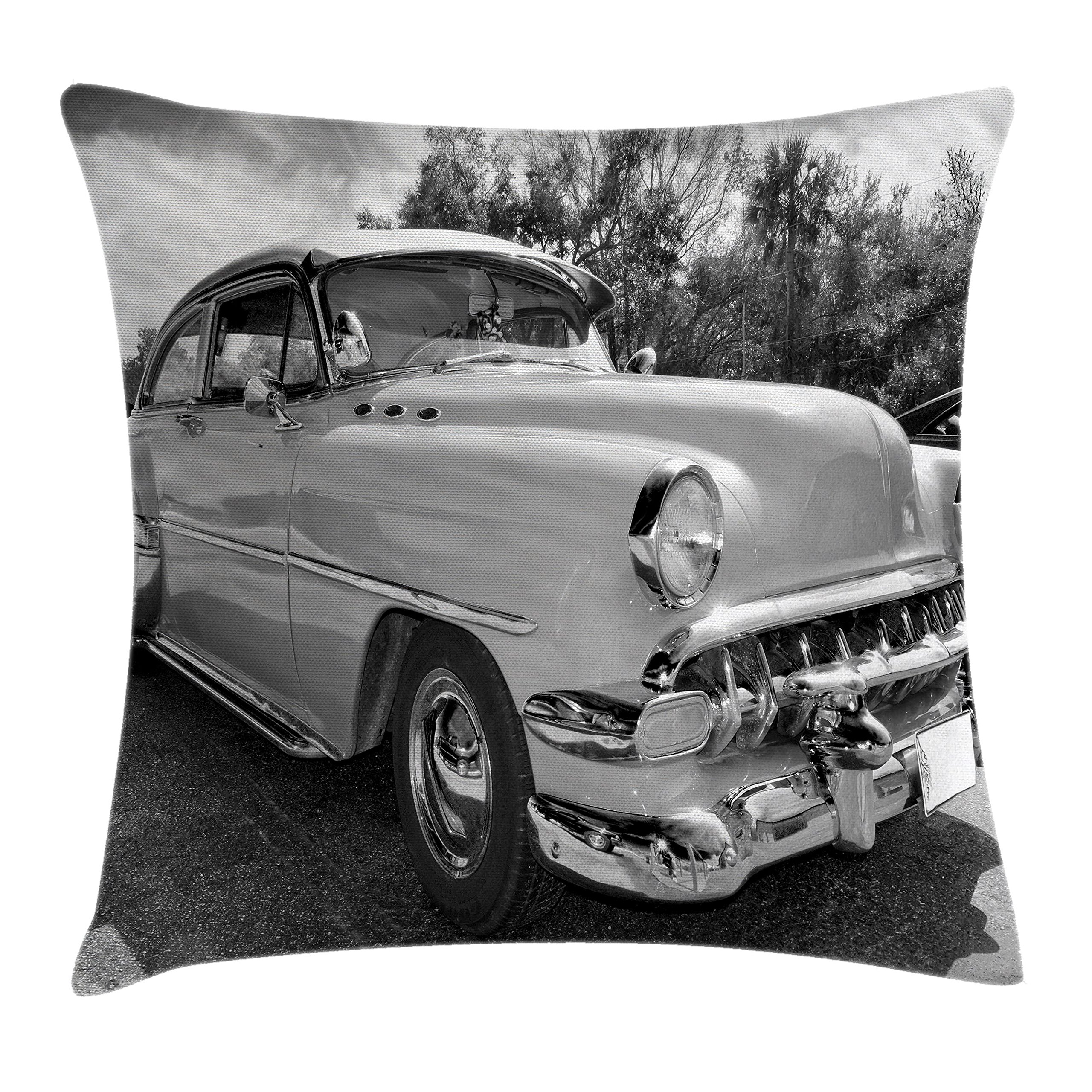 Ambesonne Vintage Throw Pillow Cushion Cover, 50s 60s Retro Classic Pin up Style Cars in Hollywood Movies Image Artwork, Decorative Square Accent Pillow Case, 16 X 16 inches, Black White and Gray
