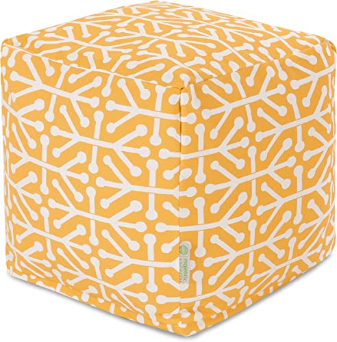 Majestic Home Goods Citrus Aruba Indoor Outdoor Bean Bag Ottoman Pouf Cube 17 L x 17 W x 17 H