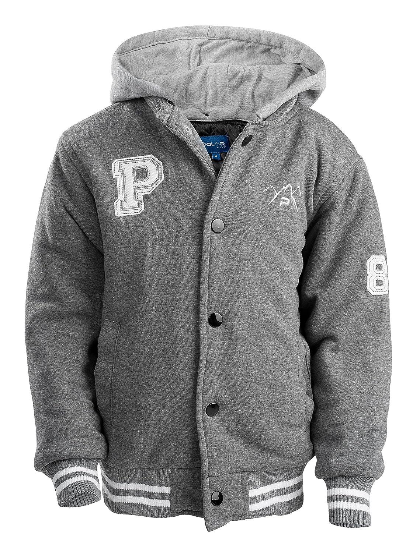 The Polar Club Boys' Fleece Varsity Baseball Jacket Removable Hood 2500B-BK-GY