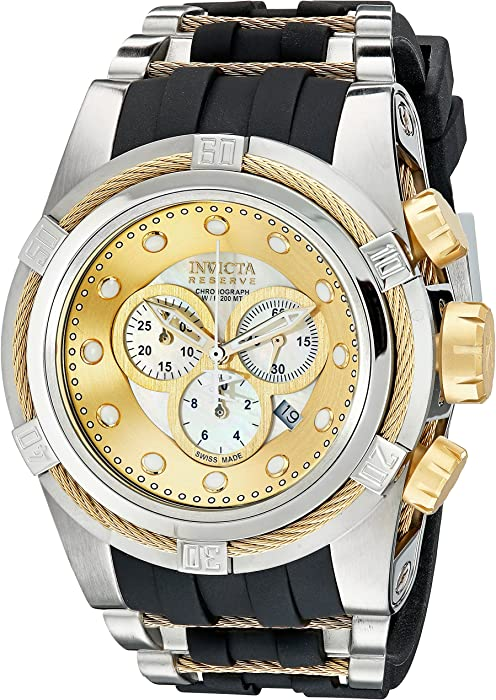 Invicta Mens 0828 Bolt Zeus Reserve Chronograph Mother-Of-Pearl Dial Black Polyurethane Watch