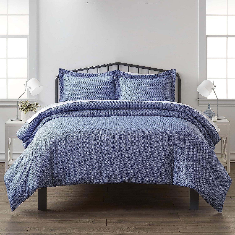 Linen Market iEnjoy Home Hotel Collection Premium Ultra Soft Blue Diamond Pattern 3 Piece Duvet Cover Bed Sheet Set, Twin/Twin Extra Long, Navy