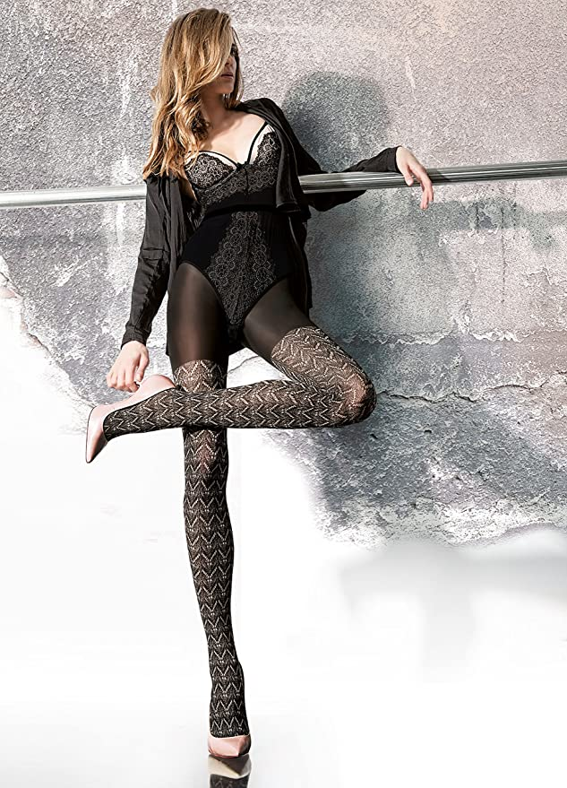 BALLERINA Luxury Super Fine 20 Denier Sheer Patterned Tights With Lycra