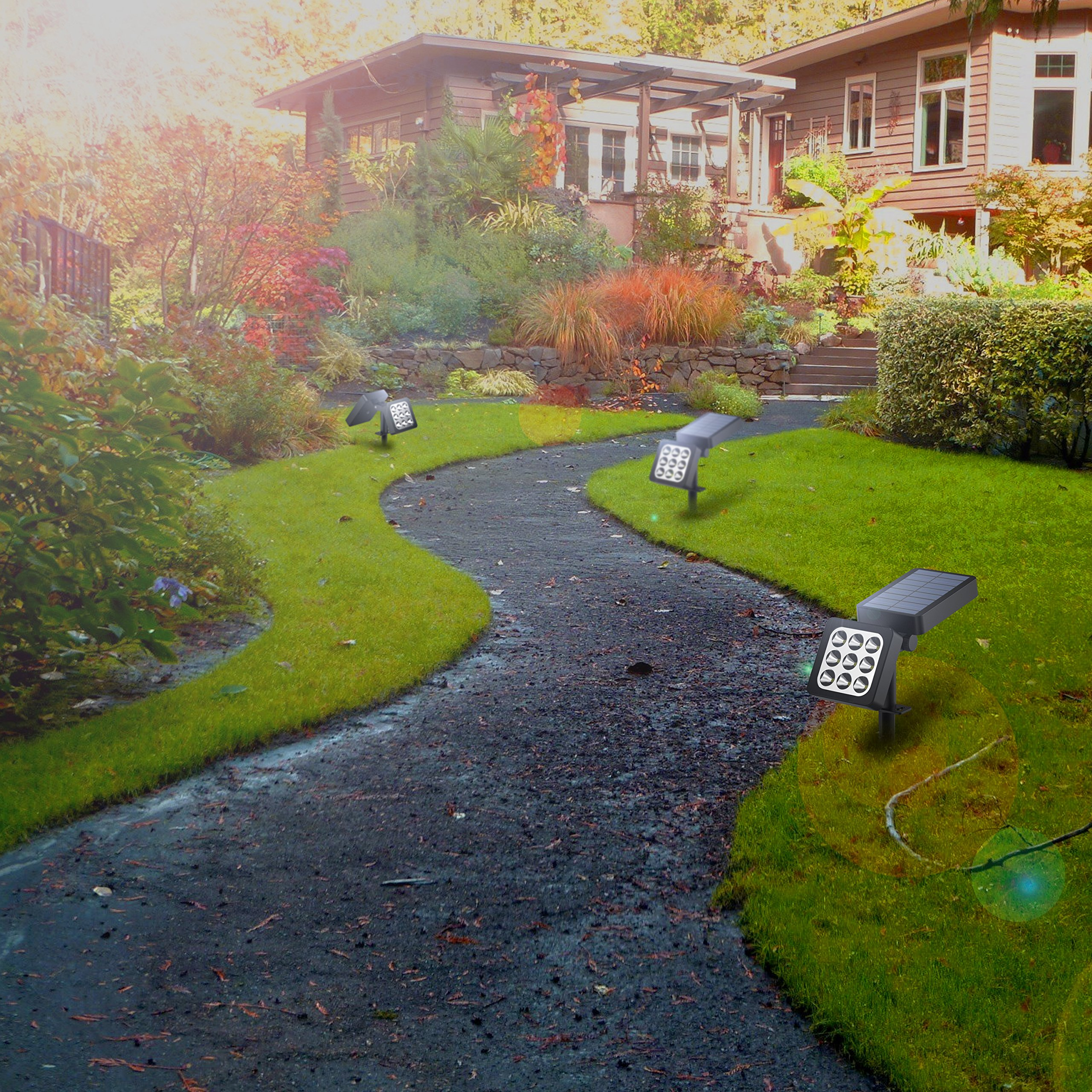 solar spotlights 2 in 1 waterproof outdoor landscape lighting 9 led