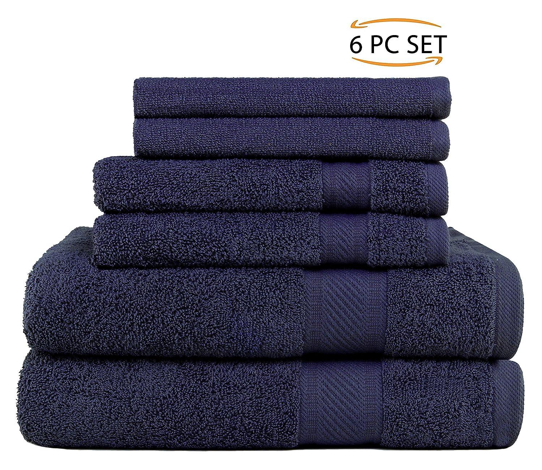 SweetNeedle - Uso diario Juego de toallas de 6 piezas, Blanco - 2 toallas de baño 68x126 CM, 2 toallas de mano 40x70 CM, 2 paño de lavado 30x30 CM - Algodón ...