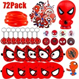 GROBRO7 72Pack Spiderman Themed Party Supplies Spiderman Masks Slow Rising Squishy Spiderman Cartoon Sticker Rubber…