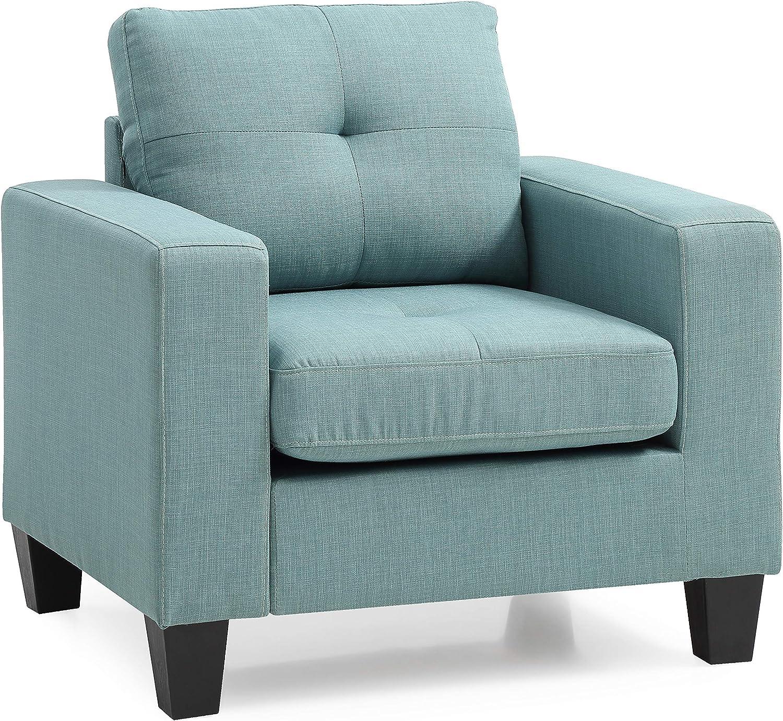 "Glory Furniture Newbury Chair, Teal. Living Room Furniture, 36"" H x 35"" W x 32"" D"
