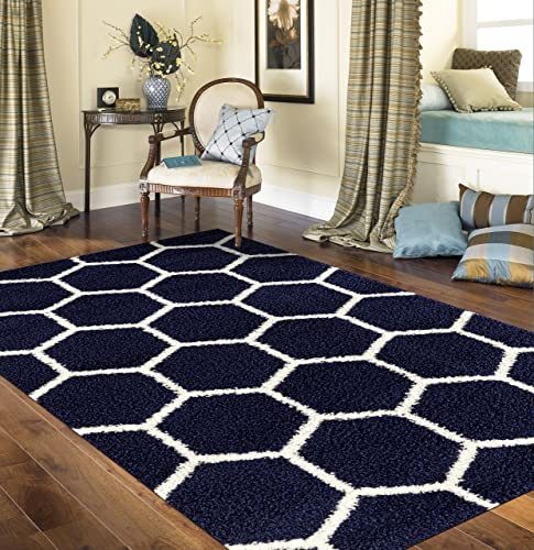 Cozy Geometric Honeycomb Shag Area Rug 7 10 X 10 Navy
