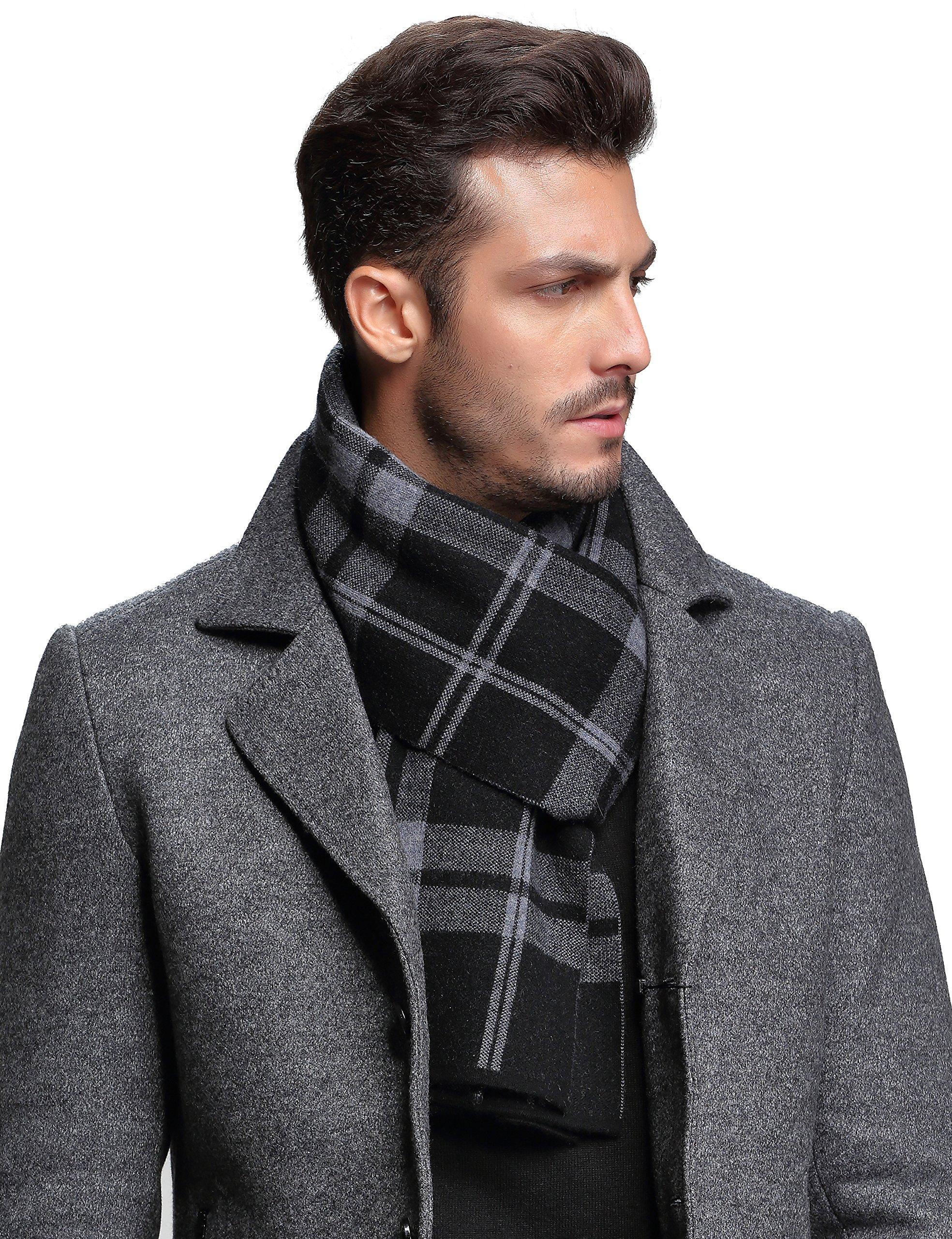 Ellettee, 100% Australian Wool Men Scarf Classic Knitted Long NeckwearStripe Plaid Scarves (Plaid BlackGrayWhite)
