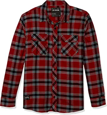 Fox Racing Mens 23891 Tech Stretch Flannel Long Sleeves Button Down Shirt - Red