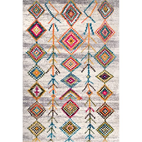 nuLOOM Catrine Bohemian Diamonds Shag Rug, 4 x 6 , Light Grey