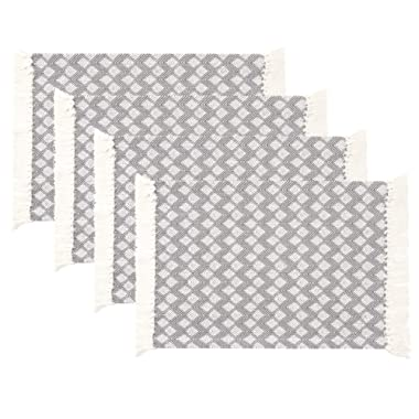 Sticky Toffee Cotton Woven Placemat Set with Fringe, Scalloped Diamond, 4 Pack, Gray, 14 in x 19 in