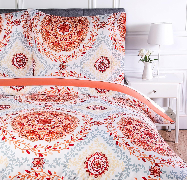 Coral Medallion 260 x 240 cm Basics Parure de lit avec housse de couette en microfibre Rose corail