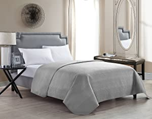 VCNY Home Columbus Luxurious Microfiber Embossed Quilted Coverlet/Bedspread with Geometric Design Grey Twin