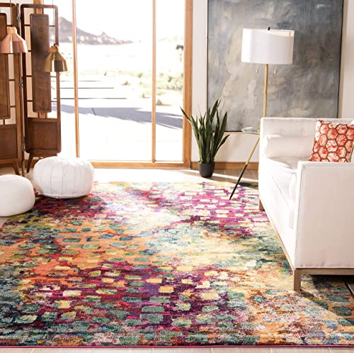 Safavieh Monaco Collection MNC225D Modern Abstract Watercolor Pink and Multi Area Rug 12' x 18'