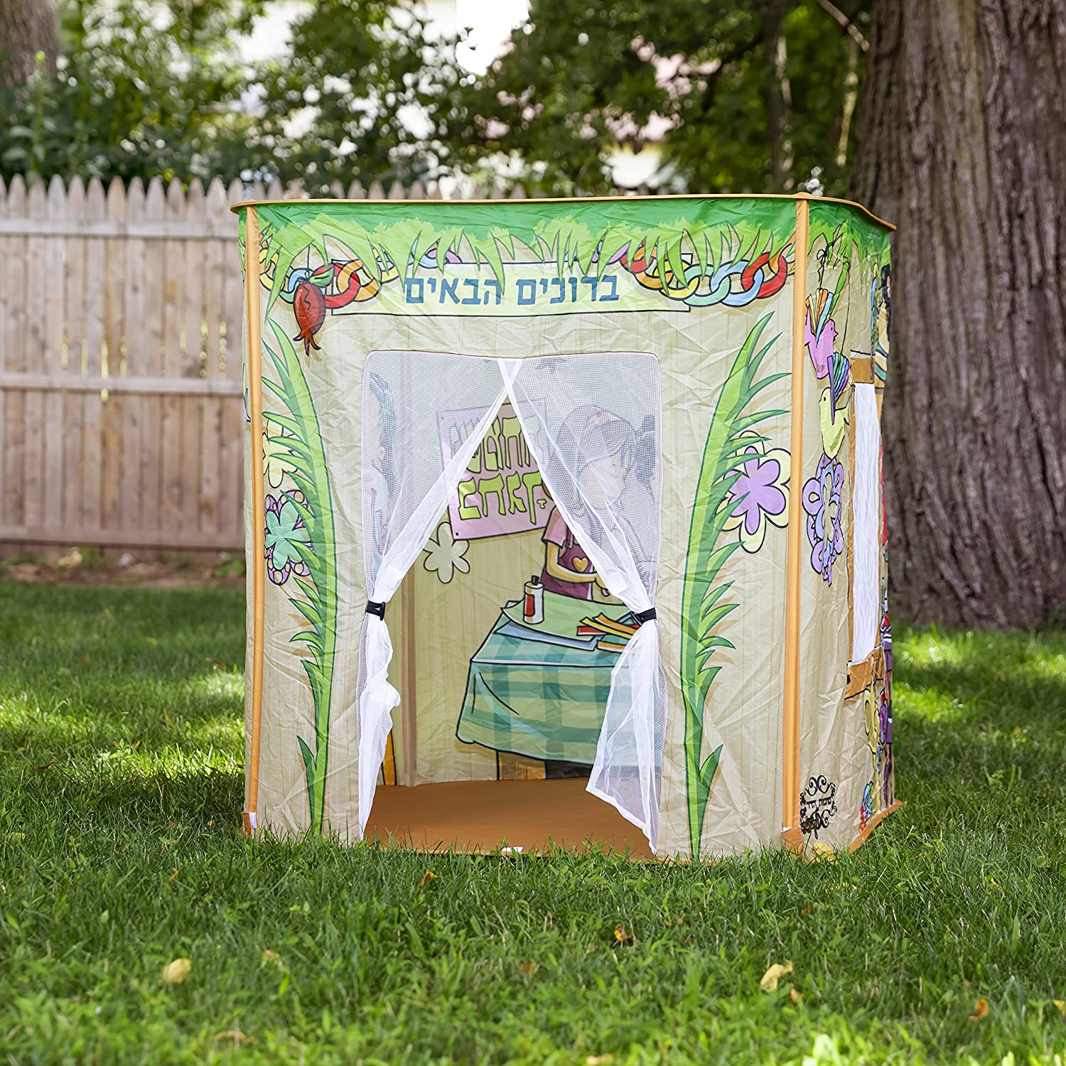 for Ages 3-12 Pop Up Sukkah for Kids Mitos Children Sukkah is an Easy Foldable Pop Up Tent//House Toy for Kids with Fun Kids Sukkah Decorations and Holiday Inspired Illustrations