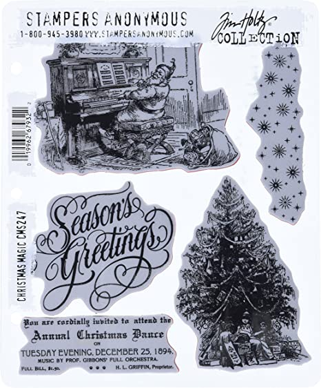 7 by 8.5-Inch Stampers Anonymous Tim Holtz Cling Rubber Stamp Set Holidays No.3